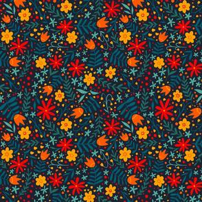 Bright Folk Floral - dark background - larger scale