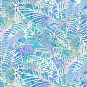 Batik Leaves Turquoise Lavender 300