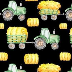 Medium Watercolor Tractors Black