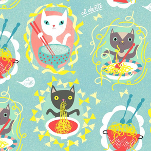 noodles for all cats on light blue