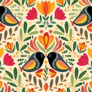 Boho Folk Colorful Spring Birds, Jungle Paradise