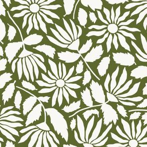 Wild Flower Silhouette   Dill Green