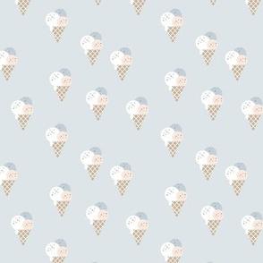 Little ice cream cone flavors and confetti disco dip summer snack kids pale blue