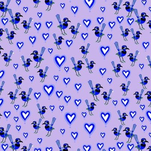 Blue Wren Birds+Blue Hearts