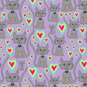 Zen Grey Cats+Heart Love