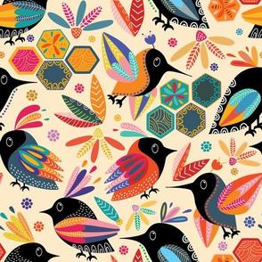 Joyful Black Paradise Birds , Colorful Botanical Flowers and Leaves