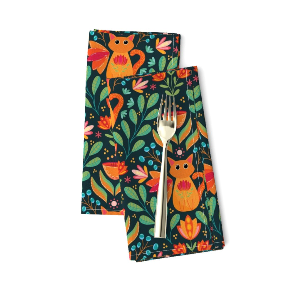 Amarela Dinner Napkins featuring Orange Cat in the Forest, Folk Art Flowers, Happy Kittens Bright and Colorful by ozdebayer