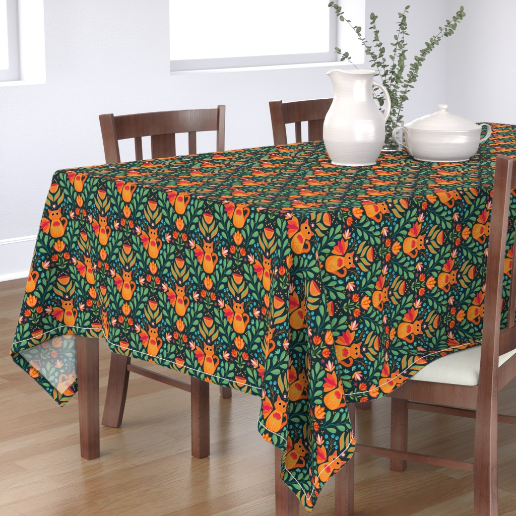 Bantam Rectangular Tablecloth featuring Orange Cat in the Forest, Folk Art Flowers, Happy Kittens Bright and Colorful by ozdebayer