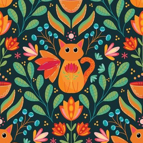 Orange Cat in the Forest, Folk Art Flowers, Happy Kittens Bright and Colorful