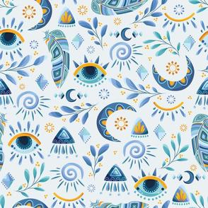 Blue Talisman Boho, Feather Moon Sun, Shades of Blue