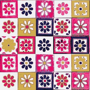 Talavera Tiles Flowers on White