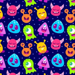Rainbow Aliens on Dark Blue