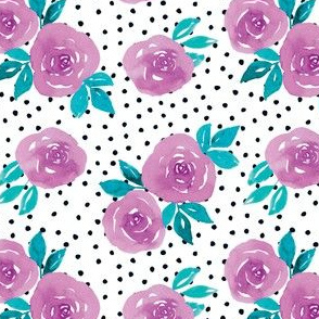 Lilac watercolor flowers with dots