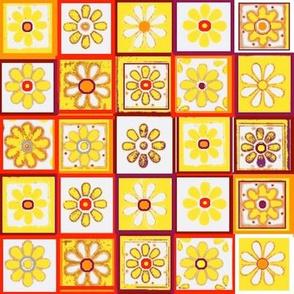 Talavera Tiles Marigolds on White