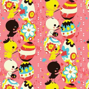 Easter chicks a painting - pink