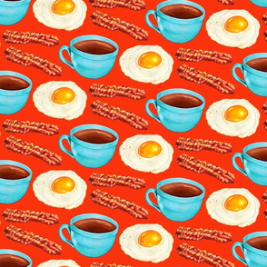 Coffee Bacon & Eggs - Red