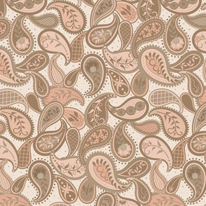 May Paisley: Copper Pink & Brown Modern Paisley