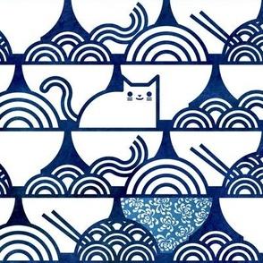 Cat Noodle -  Navy and White Cute Cats- Kawaii Ramen Pets- Novelty Pet