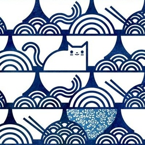 Cat Noodle Large-  Navy Blue and White Cute Cats- Kawaii Ramen Pets- Japanese Novelty Pet
