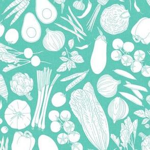 farmers market veggies - linen texture turquoise