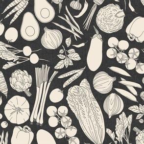 farmers market veggies - linen texture grey