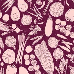 farmers market veggies - linen texture wine