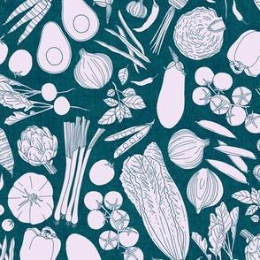farmers market veggies - linen texture teal