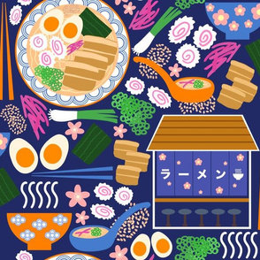 (M) Tokyo Ramen Shop - Medium on Blue - Japanese / Asian Food / Cuisine