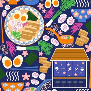 (L) Tokyo Ramen Shop - Large on Blue - Japanese / Asian Food / Cuisine