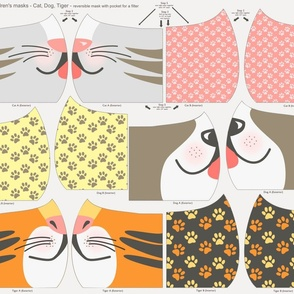 Cut and Sew Child Face Mask - Cat, Dog, Tiger