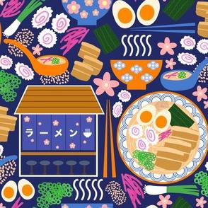 (S) Tokyo Ramen Shop - Small on Blue - Japanese / Asian Food / Cuisine