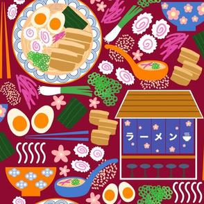 (M) Tokyo Ramen Shop - Medium on Red - Japanese / Asian Food / Cuisine