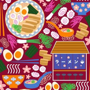 (L) Tokyo Ramen Shop - Large on Red - Japanese / Asian Food / Cuisine