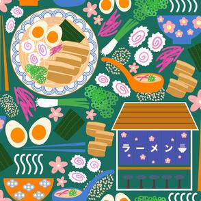 (XL) Tokyo Ramen Shop - Jumbo / XL on Green - Japanese / Asian Food / Cuisine