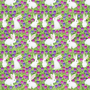 white bunny rabbits and purple pansies