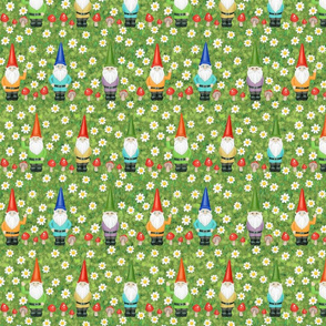 gnomes, daisies, and toadstool mushrooms
