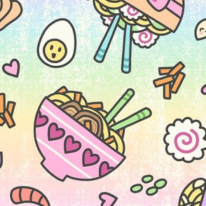 Kawaii Pastel Rainbow Ramen Party (Large Size)
