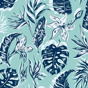 Blue Hawaii Leaves on Pastel Blue