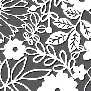 Papercut Floral in Grey - large scale