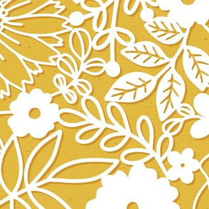 Papercut Floral in Mustard - large scale