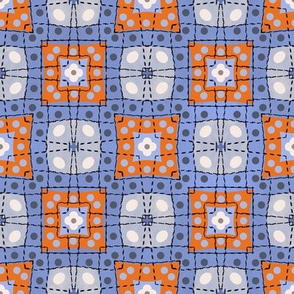 70s style check bedsheet - purple and orange