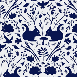 Squirrel pattern blue on blue