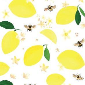 Lemons Bees and Lemon Blossoms