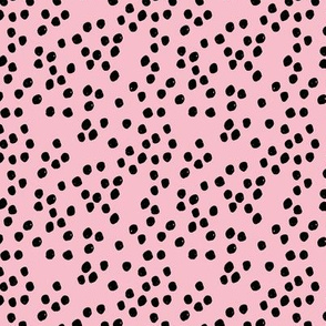 Teeny tiny little spots and dots irregular ink spot Scandinavian boho minimal animal print bubblegum pink girls black
