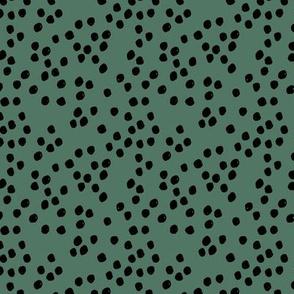 Teeny tiny little spots and dots irregular ink spot Scandinavian boho minimal animal print summer green black