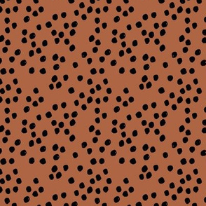 Teeny tiny little spots and dots irregular ink spot Scandinavian boho minimal animal print rusty copper black