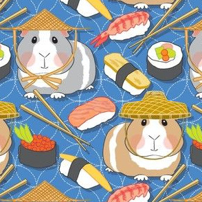 large guinea pigs and assorted sushi on sashiko