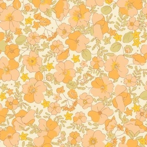 Floral Illustrated 70s Vintage - sunny