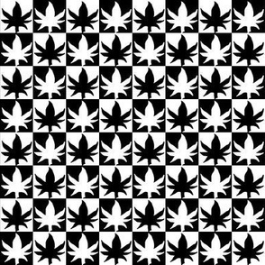 Black and White Cannabis Checkered Checked Chess Board
