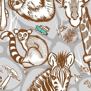 Line Art Safari Wallpaper Large | Medium Brown + Gray